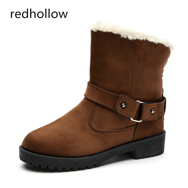 Snow Boots Winter Ankle Boots Women Shoes Warm Fur Plush Fashion Buckle Flat with Winter Boots Shoes Women Botas Mujer khaki winter boots women flat heels round toe ladies boots shoes women botas altas mujer female winter boots with plush