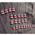2017 Mais Novo Curta Japão Estilo Francês das Unhas Falsas Cobertura Completa Pontas Das Unhas Falsas Nail Art Decoração Com Cola 24 unidades/pacote