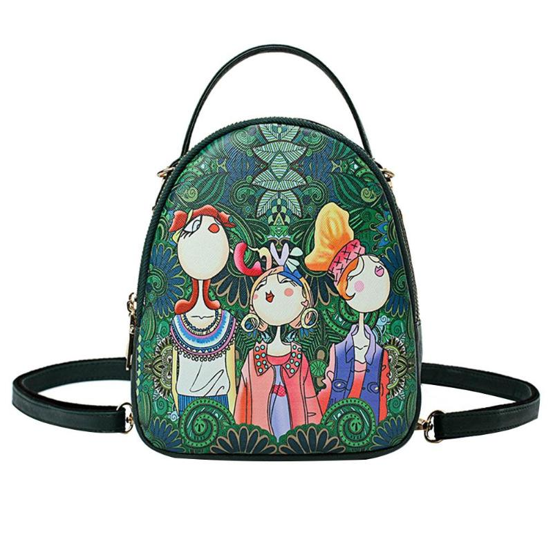 Forest Green Women Ladies Zipper Cartoon Printed Backpack PU Leather Oval Shape Casual Retro Shoulder Retro bag womenForest Green Women Ladies Zipper Cartoon Printed Backpack PU Leather Oval Shape Casual Retro Shoulder Retro bag women