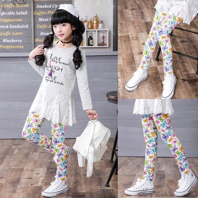 7 цветов штаны для девочек детская с цветочным принтом Леггинсы для женщин детская мода тонкий карандаш Брюки для девочек эластичный пояс От 2 до 13 лет