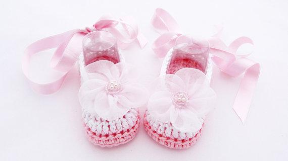 Häkeln Babyschuhe Rosa Und Weiß Taufe Schuhe In Häkeln Babyschuhe