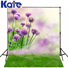Family Backdrop Purple Flowers  Children Photography Backdrops Green Grass Background For Photographer