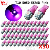 50x Pink Purple T10 158 194 168 921 W5W 5050 5 SMD LED Car Light Bulb
