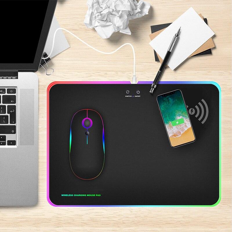 LED RGB chargeur sans fil tapis de souris 10 W pour QI Stardand optique de jeu tapis de souris bureau ordinateur portable ordinateur portable anti-dérapant