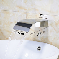 Free Shipping Chrome Finish Big Waterfall wall Mount Bath Tub Faucet Spout Tap WF15