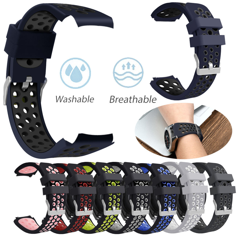 все цены на Double Color Sports Silicone Bracelet Strap Band For Samsung Galaxy Watch 46mm watch strap silicone gear s3 classic nato strap онлайн