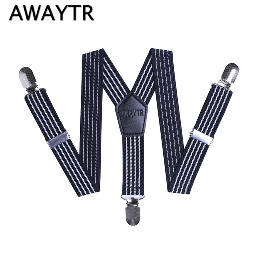 AWAYTR 55cm 2017 New Style Kids Elastic Suspenders Striped Adjustable Braces For Girls Boys Shirt Fashion Wedding Party Trousers