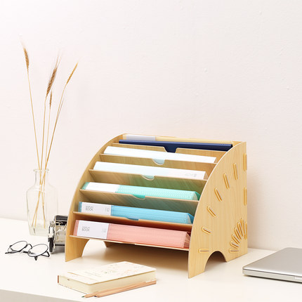 цена на Creative Desktop File Holder Document Storage Box Decorative Office Desk Organizer Wood Office Desk Sets