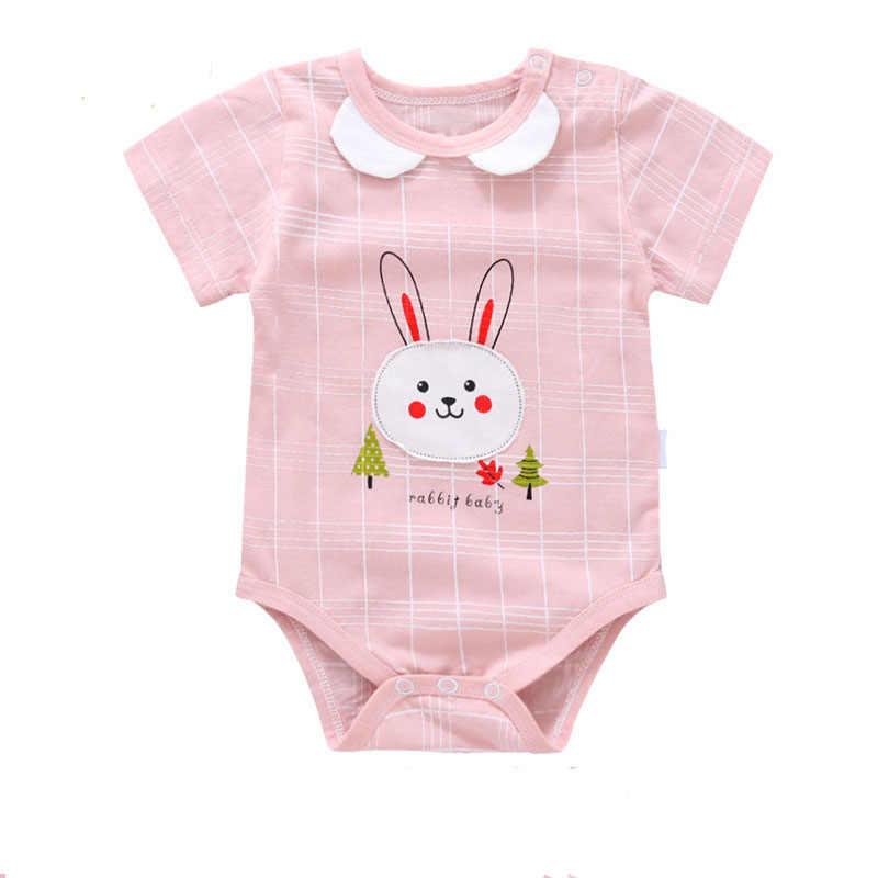 Одежда для новорожденных девочек милый кролик короткий рукав комбинезон хлопчатобумажный комбинезон летняя одежда для малышей