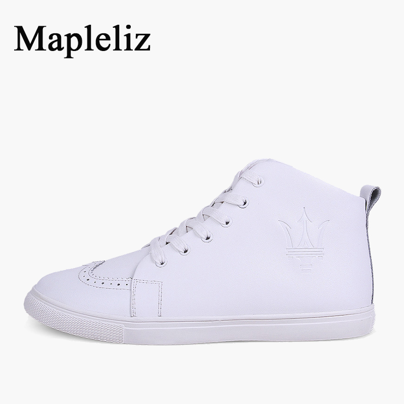 Mapleliz Brand Ankle Strap Genuine Leather High Quality Men Boots Solid Lace-Up Round Toe Cow Leather Fashion Shoes For Men