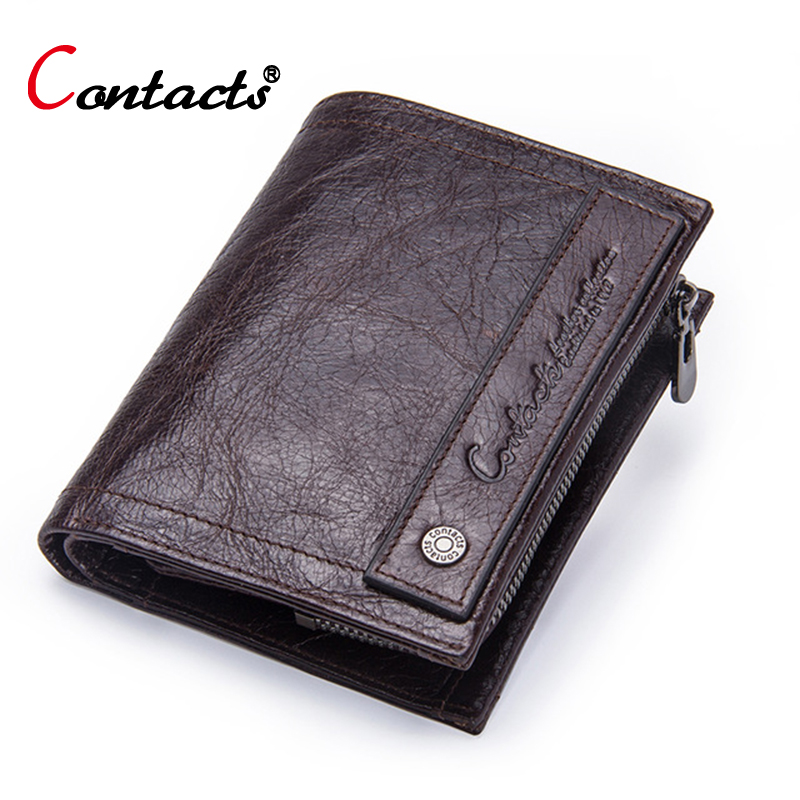 купить Contact's Brand Coin Purse Men Wallets Leather Genuine Clutch Male Wallet Small Money Bag Coin Pocket Walet Credit Card Holder по цене 1153.92 рублей