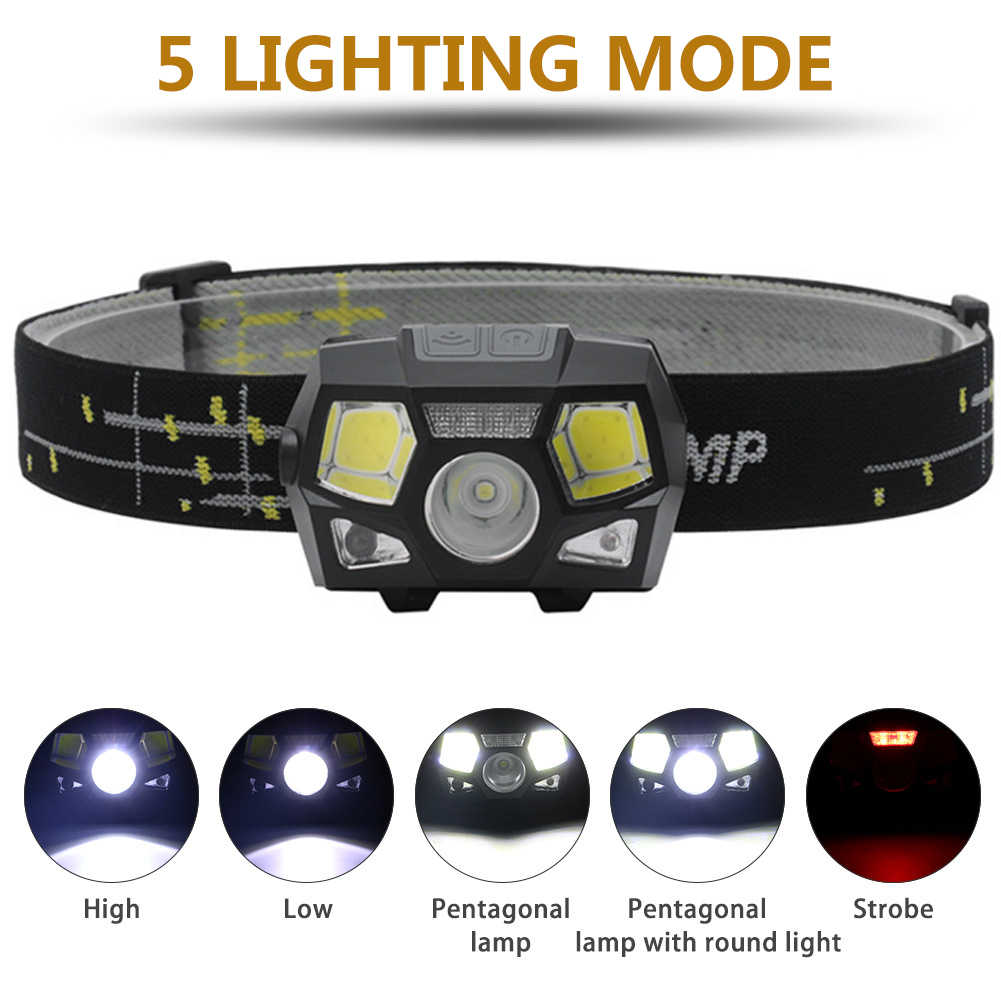 Sensor de movimiento 6000 lúmenes LED faro Super brillante manos libres potente linterna para cabeza recargable USB impermeable
