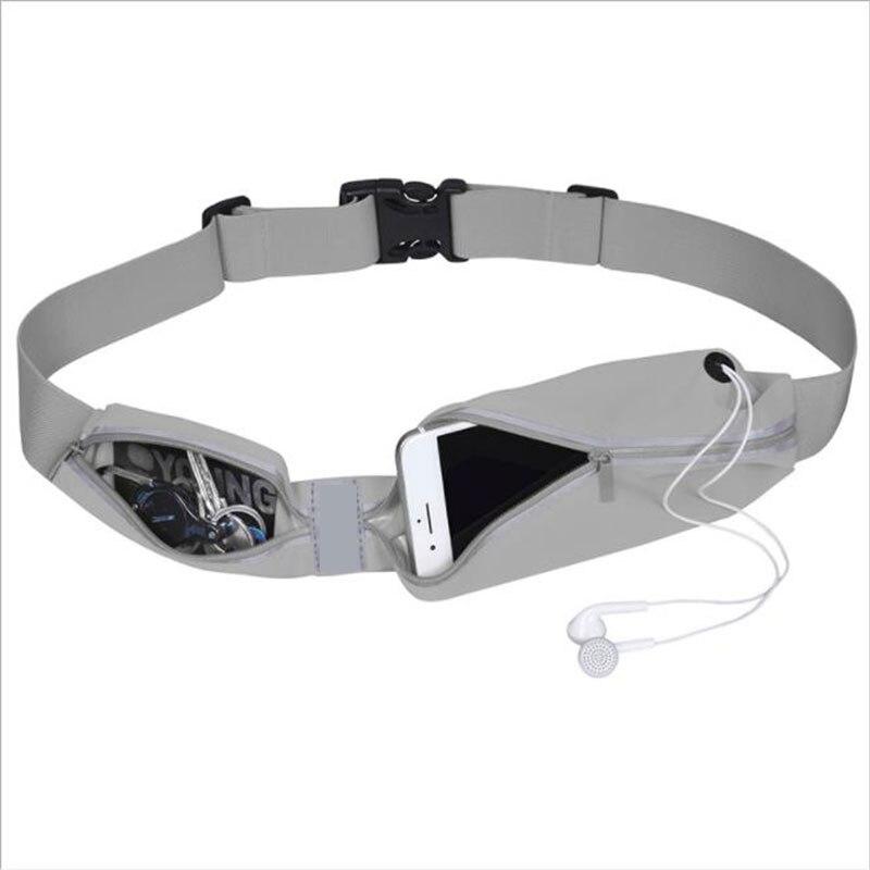 New  Waterproof Gym Running Bags Belt Women Men Pouch Phone Pocket Case Camping Hiking Sport Waist Bags Jogging Pack  Gray