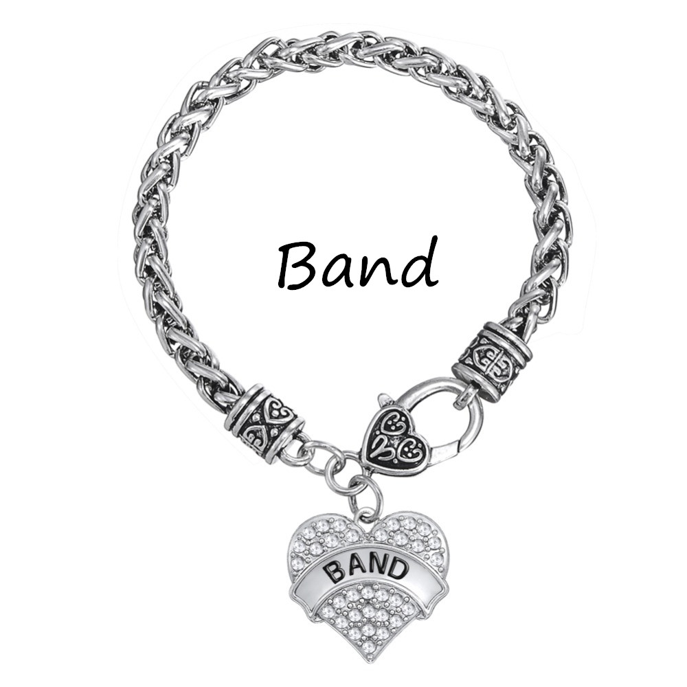 My Shape Classic Design Word Band Crystal Heart Charm Bracelet Music Lover  Jewelry Collection Custom Engraved