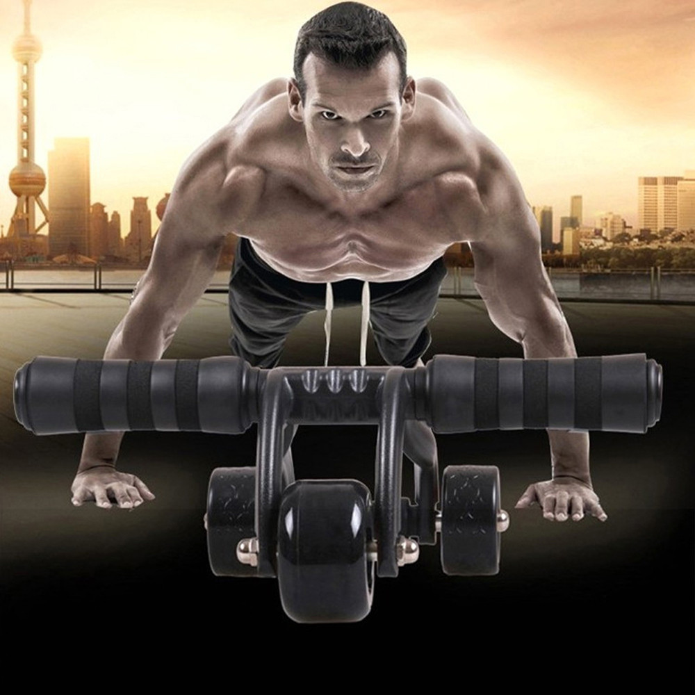 Gym Pro 3-Wheel Fitness Ab Roller Workout System Abdominal Abs Exercise Workout