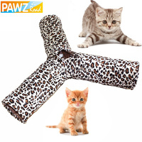 Cat Tunnel Leopard Print Crinkly 3 Ways Fun Tunnel Kitten Play Toy Collapsible
