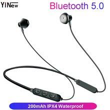 YINEW Bluetooth 5.0 Headphones Wireless Earphones Bass Waterproof Sport Headset Stereo Earphone Headphone Bluetooth Headset cbaooo bluetooth headphone wireless earphones sport headset waterproof bass stereo with mic
