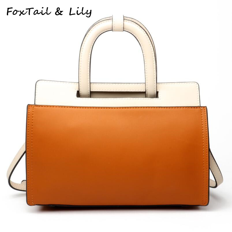 FoxTail & Lily Fashion Panelled Leather Shoulder Bag Famous Designer Tote Handbags on Sale Women Messenger Bags Luxury Quality foxtail