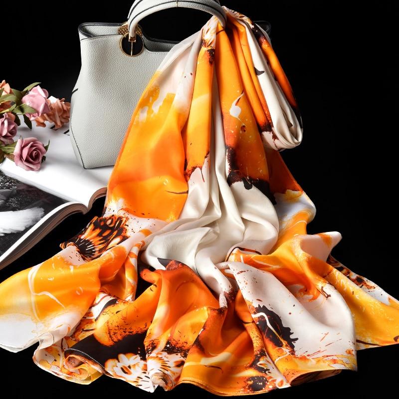 100% Pure Zijde Sjaal Dames Luxe Merk 2019 Hangzhou Zijde Sjaals en Wraps voor Vrouwen Double layer Natuurlijke Echte zijden Sjaals - 2
