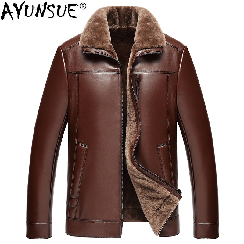 AYUNSUE Genuine Sheepskin Leather Jacket Men 100% Real Wool Liner Short Men's Fur Coat Warm Jackets 2019 Veste 22-1687 KJ1562