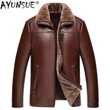 AYUNSUE Genuine Sheepskin Leather Jacket Men 100 Real Wool Liner Short Men s Fur Coat Warm