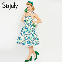 Sisjuly Women 1960s Vintage Dress Summer Pin Up Floral Print Retro Dress Sexy Cute Green A