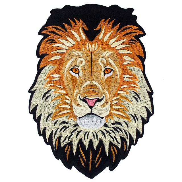10 peças leão bordado ferro em remendos de volta bordado applique reparação emblemas para roupas adesivo acessórios costura th1256