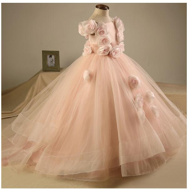 Baby Girls Pageant Formal Dresses 2017 Floor Length Flowers Tiered Infant Girls Princess Tutu Dress Gauze Kids Birthday Dresses brand gomu 20 60x60 hd zoom high quality precision spotting scope telescope tripod connection mobile phone adapter bird watchin