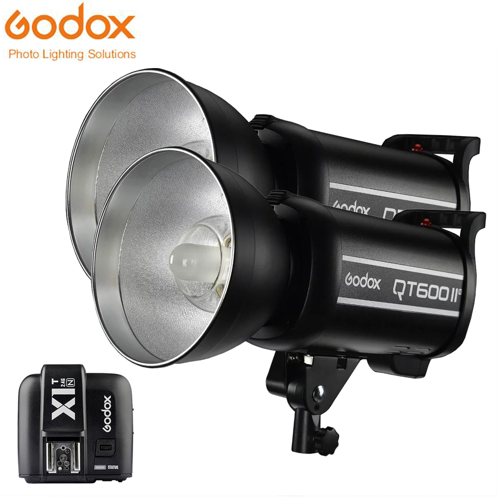 2 개 Godox QT600II GN76 1/8000 초 고속 동기화 플래시 스트로브 빛 내장 2.4 그램 무선 시스템 추가 X1T 트리거