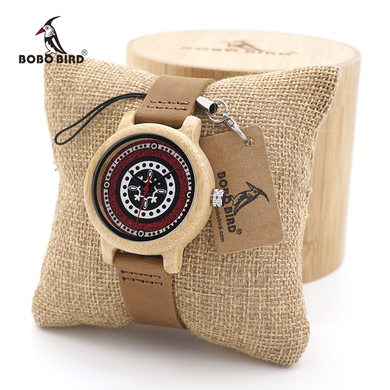 BOBO BIRD Womens Bamboo Wooden Watches with Leather Simplement Design Ladies Wristwatch custom logo bobo bird v a10 unique vogue womens bamboo wooden watch quartz outdoor sport watches with genuine leather strap montre femme