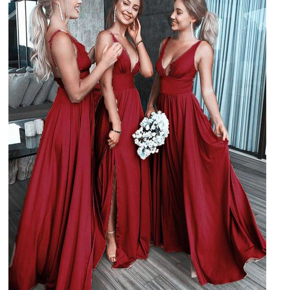 red bridesmaid dresses 2020 deep v neck pleats side slit chiffon floor length wedding party dresses wedding guest dresses(China)