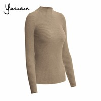 Yanueun Korean Fashion Women Pullovers Turtleneck Knit Shirt Long Sleeve Stretched Solid Sweater Tops 2016 Fall Winter Jumper 2