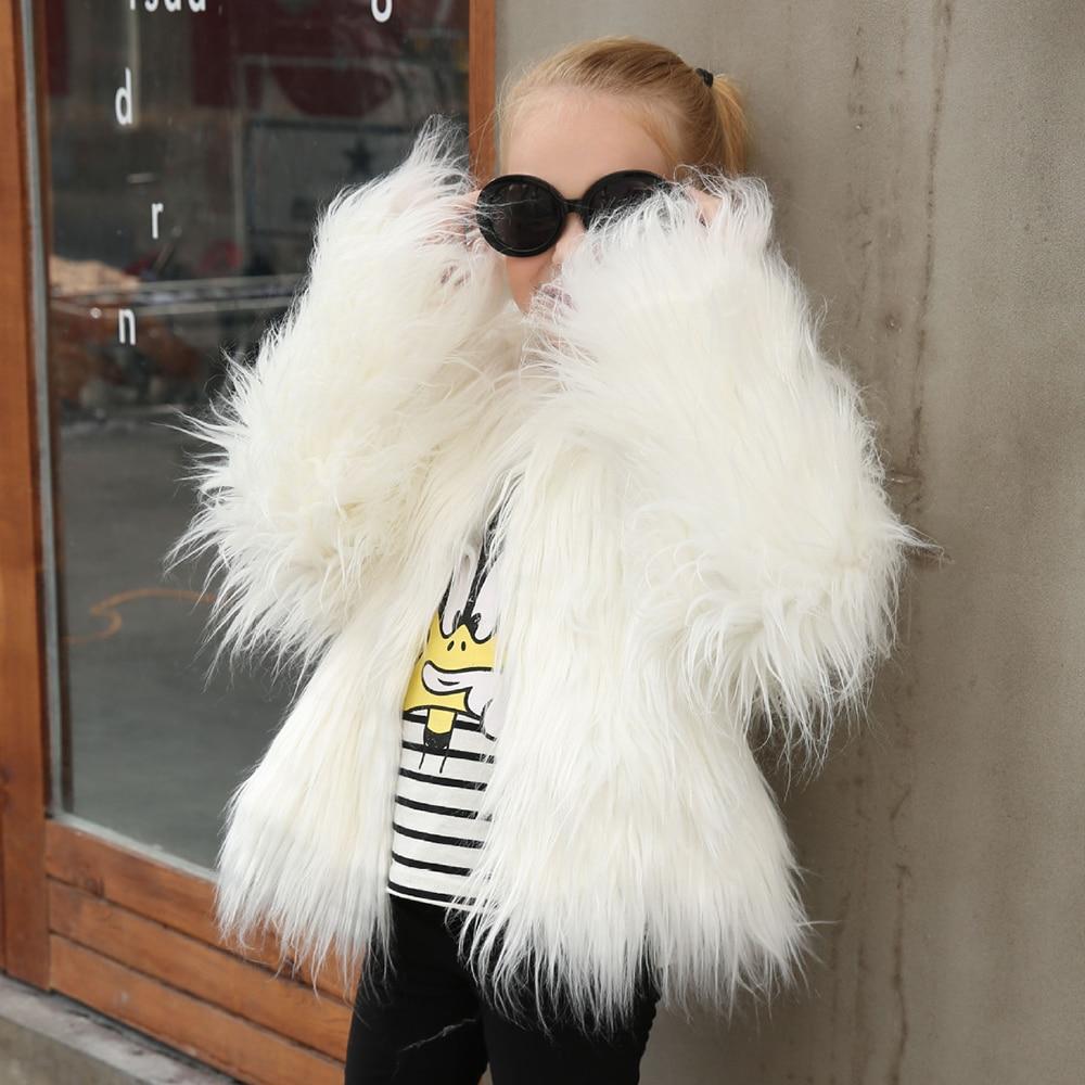 Girls Faux Fur Coat Jacket Autumn Winter Kids Outerwear -3314