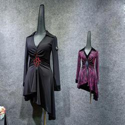 2019 Новое латинское танцевальное платье женское сексуальное Сетчатое с v-образным вырезом Танго Сальса платье для танцев Samba Cha-Cha Practice clothing
