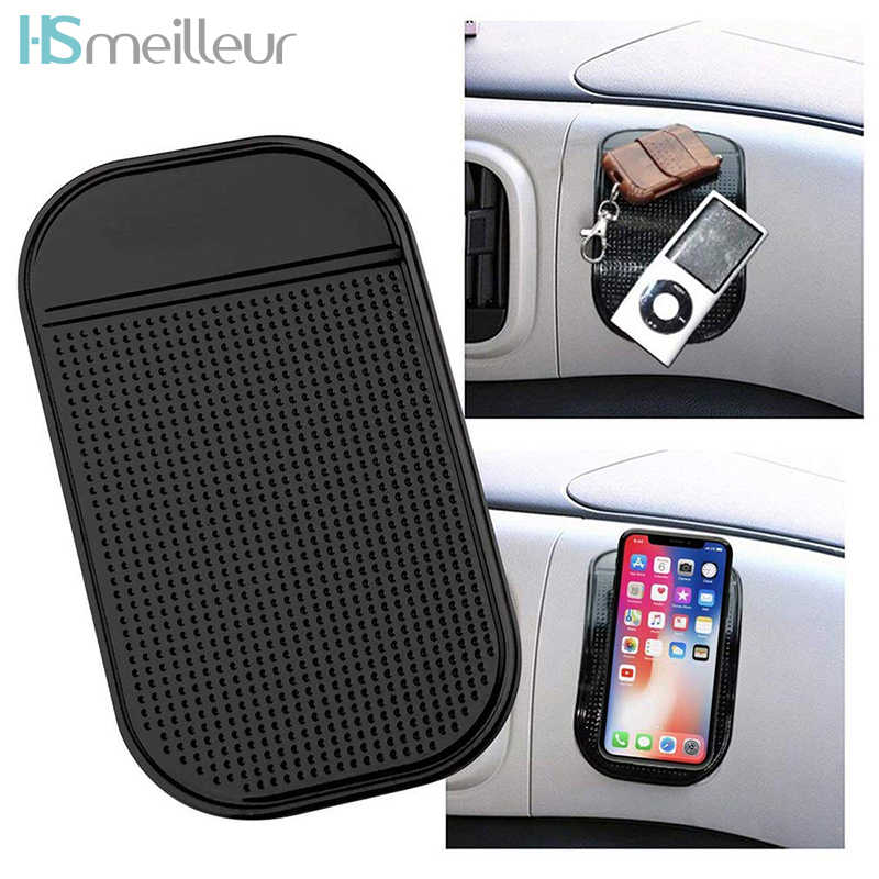 Hsmeilleur Anti-Slip Car Dash Sticky Gel Rubber Pad Silicone Non-Slip Vehicle Car Dashboard Cell Phone Mount Holder Adhesive Mat