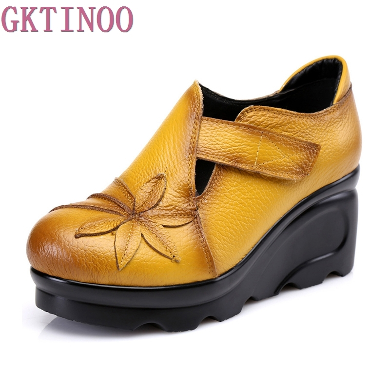 New Arrival 2019 Women Autumn Genuine Leather High Heels Shoes Handmade Vintage Flower Embroidered Wedges Shoes