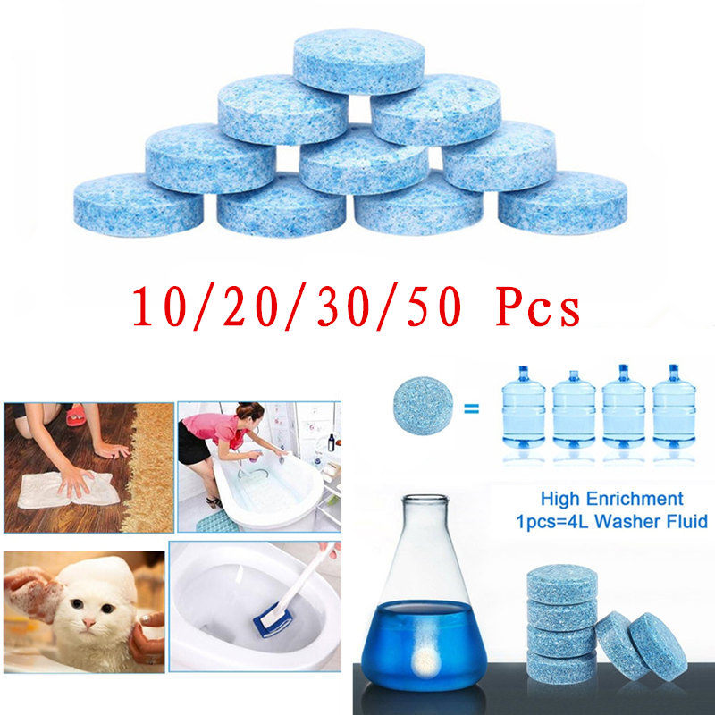 10/20/30/50 Pcs Multifunctional Effervescent Tablets Car Windshield Cleaner Universal Cleaning Tool For Toilet Kitchen And Pet