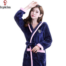 New Women Coral Fleece Sleepwear Sexy Kgurumi Winter Autumn Warm Bathrobe Nightgown Kimono Dressing Gown Robe For Lady SY798
