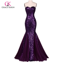 Grace Karin Sequin Long Evening Dress Sparkly Purple 2016 New Arrival Elegant Formal Dresses Mermaid Evening