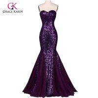 Pullu Uzun Abiye Grace Karin Sparkly Mor 2018 Yeni Varış robe de soiree Örgün Mermaid Örgün Abiye elbise