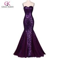 Grace Karin Sequin Long Evening Dress Sparkly Purple 2016 New Arrival Elegant Formal Dresses Mermaid Evening