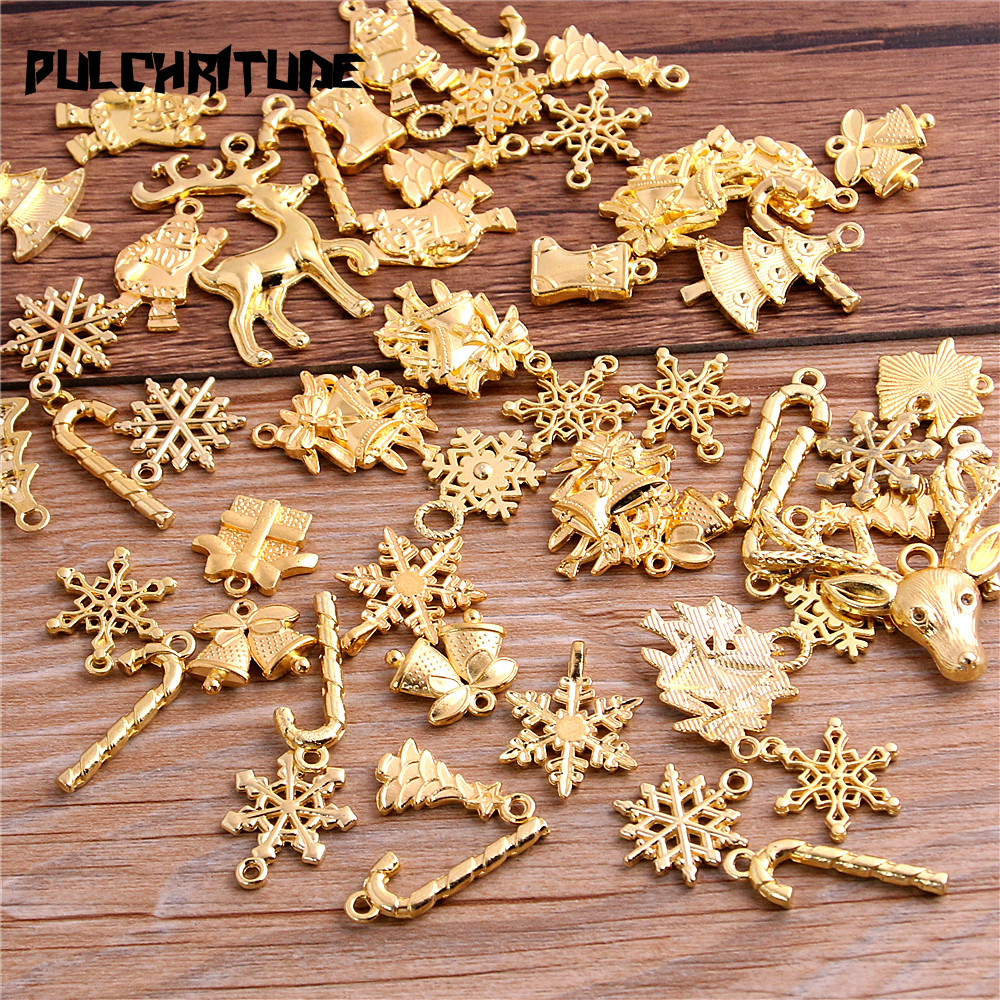 PULCHRITUDE 20Pcs Mixed Two Color Christmas Boot Snowman Boot Snowflake Charms Pendants Jewelry Making Accessor T0977