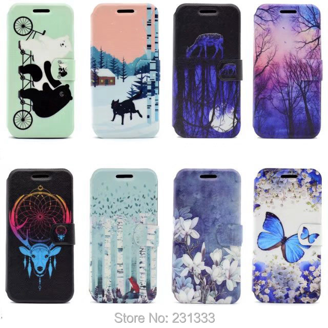 Flower Wallet Flip Leather Pouch Case For Iphone 7 PLUS 7plus Huawei P10 P8 LITE 2017 Stand TPU ID Card Bear Cartoon Cover 1pcs