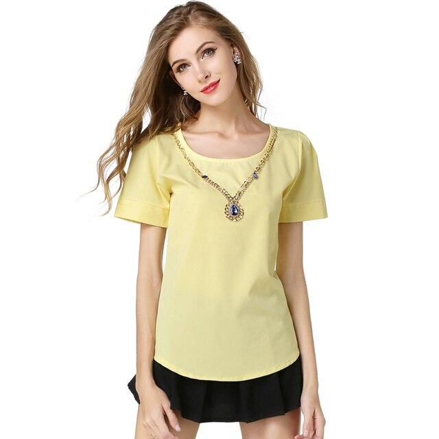 5016089973e Низкая цена продажи 9 Женские однотонные шифоновые блузки 2016 Новая модная  летняя одежда для девочек топы