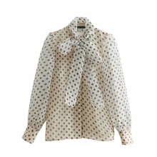 women sweet polka dots printing casual organza blouses