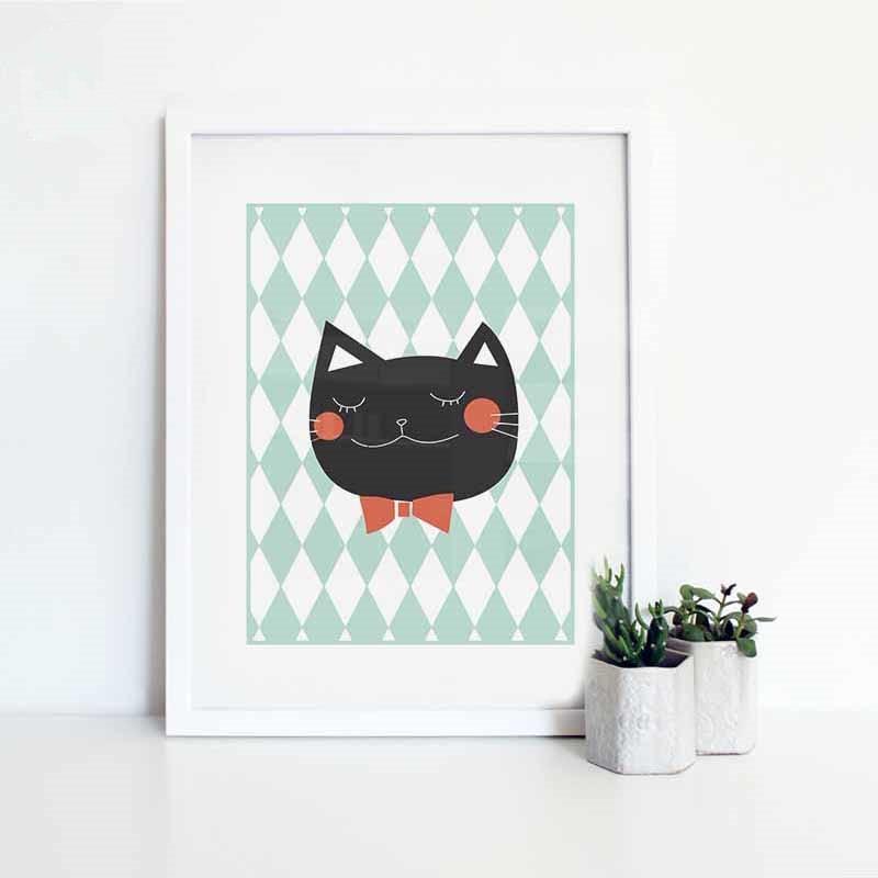 Neue Frische Nordic Kawaii Tiere Glückliche Katze Kunstdrucke Poster ...