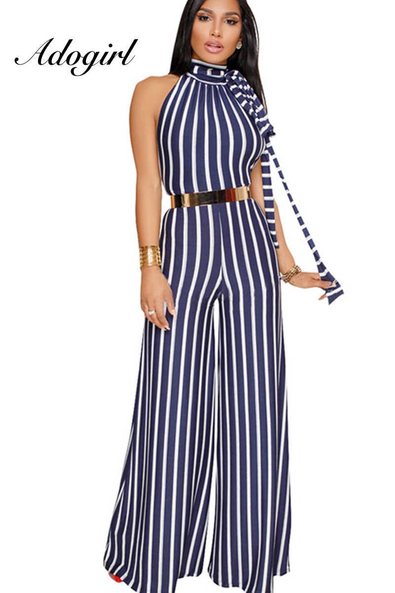 d700977d43f8 Adogirl 2018 Casual Backless Sashes Wide Leg Women Striped Jumpsuit  Turtleneck Top Long Loose Pants Elegant