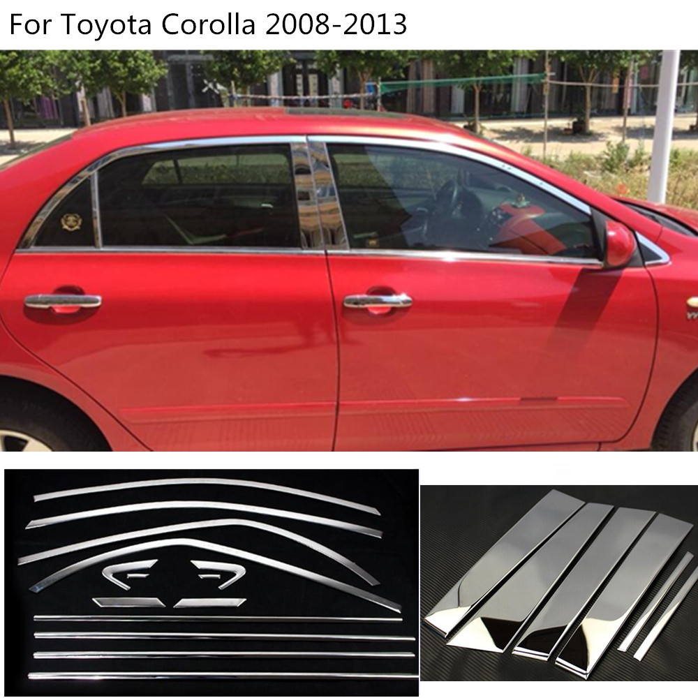 Car styling body glass window garnish pillar middle column strip trim For Toyota Corolla Altis 2008 2009 2010 2011 2012 2013