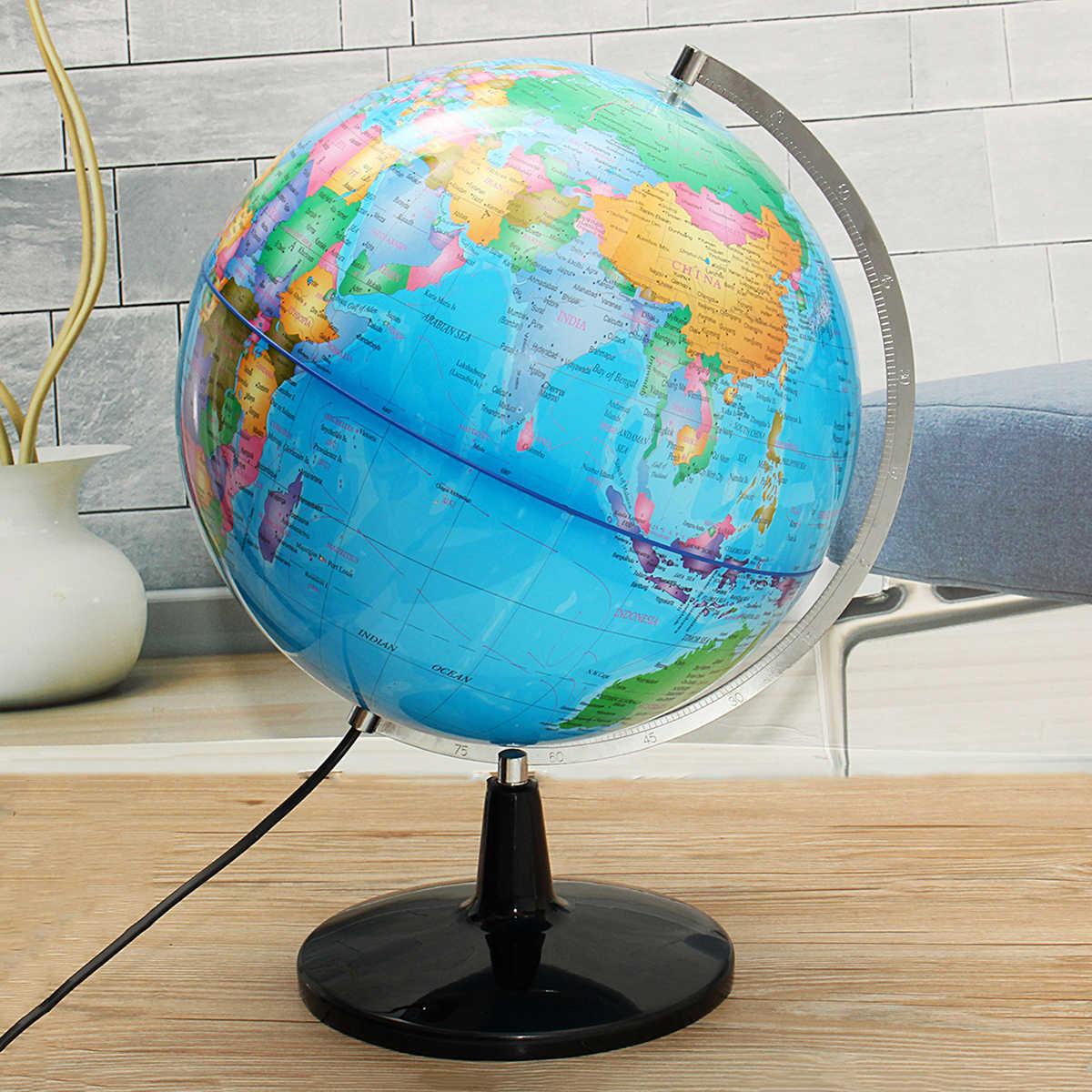 32 سنتيمتر مجسم للكرة الأرضية على حامل معدني خريطة الأرض الإضاءة الأرضية خريطة كرة أرضية جغرافيا الأطفال التعليمية غلوب المنزل مكتب المعونة المنمنمات