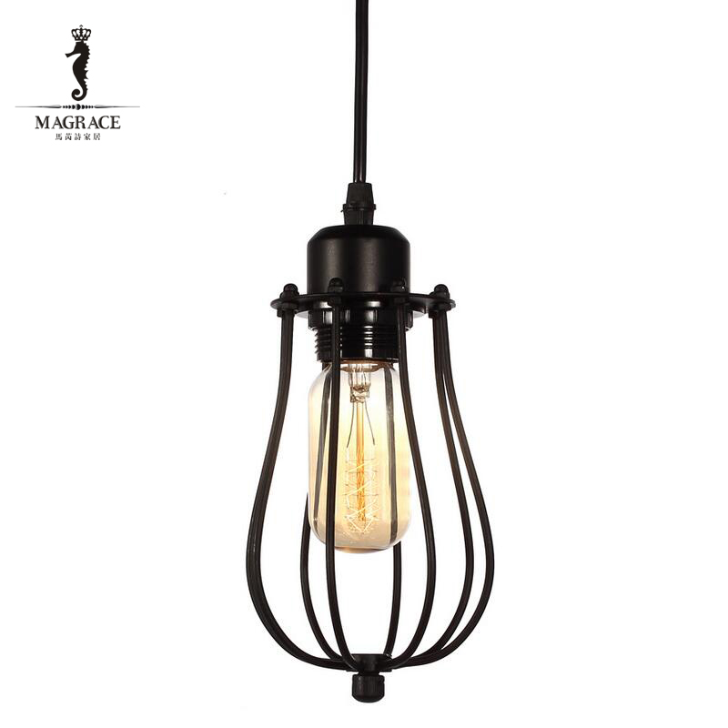 D12cmxH23cm Black Iron Small Cage Industrial Pendant Lamp Vintage Lighting Fixtures Restaurant Bar Counter Attic Bookstore Lamp
